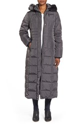 Women's Gallery Hooded Long Down And Feather Fill Coat With Faux Fur Trim Graphite