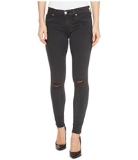 Hudson Nico Mid Rise Ankle Raw Hem Super Skinny Five Pocket Jeans In Blackened Charcoal Blackened Charcoal Women's Jeans