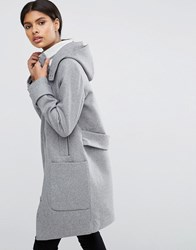 Asos Wool Blend Coat With Tipped Rib And Funnel Neck Grey