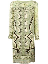 Etro Abstract Print Shift Dress Green