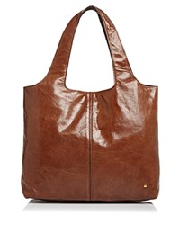 Halston Heritage Tina Large Open Soft Leather Tote Bourbon Brown Gold