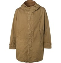 Hartford Carter Oversized Cotton Twill Hooded Coat Beige