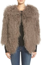 Women's Pam And Gela 'Mongolian' Genuine Shearling Coat