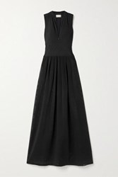 Zeus Dione Sirens Stretch Jersey And Mesh Maxi Dress Black
