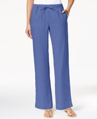 Charter Club Linen Pull On Drawstring Pants Only At Macy's Worldly Blue