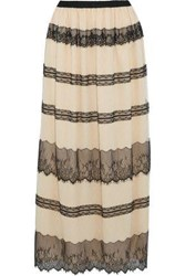 Red Valentino Paneled Chantilly Lace And Point D'esprit Maxi Skirt Beige