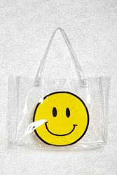 Forever 21 Happy Face Clear Tote Bag Clear Multi