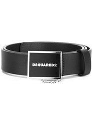 Dsquared2 Squared Logo Buckle Belt Black