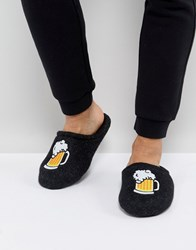 Asos Slip On Slippers In Grey With Beer Embroidery Grey