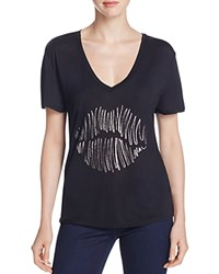 Halston Heritage Lips V Neck Tee Compare At 95 Black
