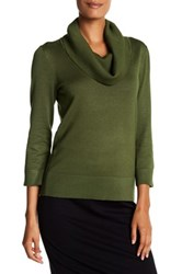 Cable And Gauge 3 4 Sleeve Ribbed Cowl Neck Sweater Green