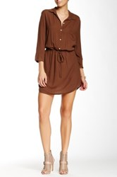 Glam Button Up Dress Brown