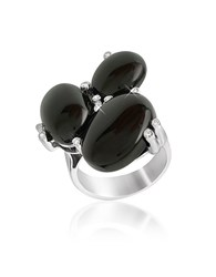 Del Gatto Diamond And Onyx Three Stone 18K Gold Ring Black