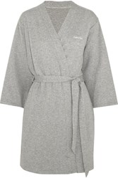 Calvin Klein Underwear Harmony Quilted Cotton Blend Robe Gray