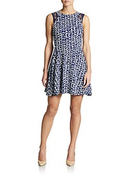 Saks Fifth Avenue Red Chevron Print Fit And Flare Dress Navy