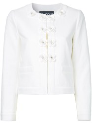 Boutique Moschino Floral Buttons Jacket White