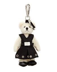 Prada Fuzzy Teddy Bear Charm For Handbag White Bianco Men's
