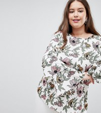 Ax Paris Plus Floral Blouse With Tiered Sleeves Multi