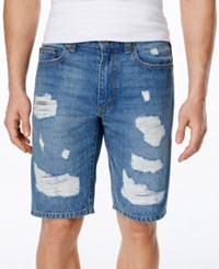 American Rag Men's Slim Fit Destroyed Denim Shorts Only At Macy's Rustic Wash