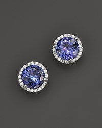 Bloomingdale's Tanzanite And Diamond Halo Stud Earrings In 14K White Gold 100 Exclusive White Blue