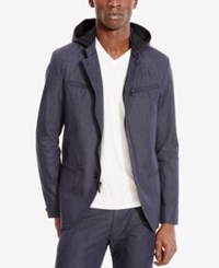 Kenneth Cole Reaction Men's Button And Zip Front Hooded Jacket Indigo Combo