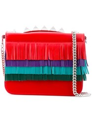 Salar Fringed Cross Body Bag Women Leather One Size Red