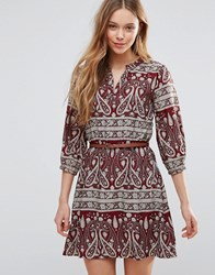 Yumi Belted Dress In Paisley Print Burgundy Red
