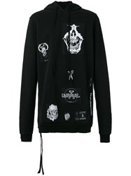 Unravel Project Distressed Patch Hoodie Black