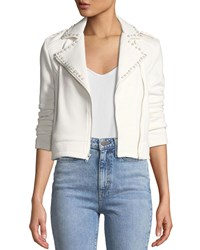 Cupcakes And Cashmere Bernadette Pearl Studded Scuba Moto Jacket Ivory