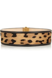 Balmain Leather And Leopard Print Calf Hair Belt Leopard Print