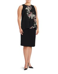 Vince Camuto Plus Floral Print Chiffon Sleeveless Blouse Rich Black