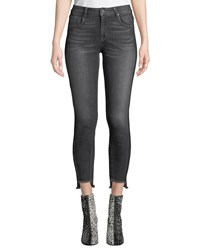 Parker Smith Twisted Seam Cropped Skinny Jeans With Raw Edge Step Hem Blue