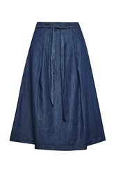 Great Plains Lightweight Denim High Waisted Skirt Blue