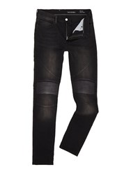 Religion Men's Slim Fit Washed Black Biker Jeans Washed Black