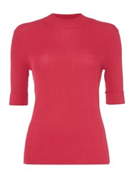 Therapy Rain High Neck Ribbed Jumper Cerise