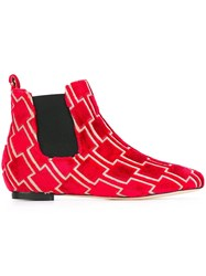 Bams Patterned Boots Red