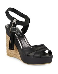 Lauren Ralph Lauren Gwen Espadrille Wedge Leather Sandals Black