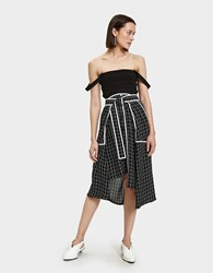Colovos Tie Front Skirt In Black And White Black And White