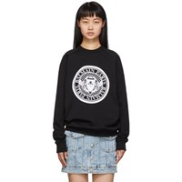 Balmain Black Flocked Medallion Sweatshirt