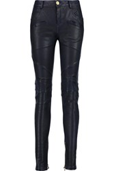 Balmain Leather Skinny Pants Blue