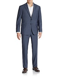 Saks Fifth Avenue Slim Fit Tonal Striped Wool And Silk Navy