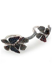 Valentino Silver Tone And Crystal Multi Finger Ring Silver