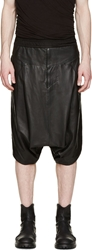 Julius Black Leather Sarouel Shorts