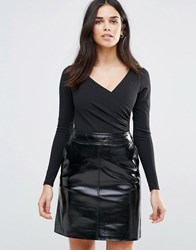 Oh My Love Ruched Waist Long Sleeve Bodysuit Black