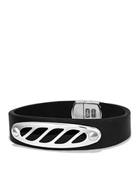 David Yurman Graphic Cable Leather Id Bracelet In Black With Black Onyx Black Silver