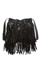 Cynthia Vincent Damali Leather Fringe Bucket Bag Black