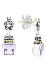 Lagos Women's 'Caviar Color' Square Semiprecious Stone Drop Earrings Rose De France