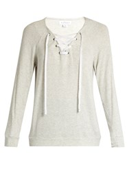 Velvet By Graham And Spencer Billow Lace Up Jersey Top Light Grey