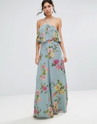 Asos Jumpsuit In Crinkle With Wide Leg And Halter Neck In Floral Print Grey Floral Print