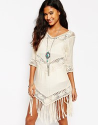 Asos Crochet Tunic Dress With Fringing Nude Pink
